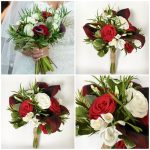 red and white paper bouquet