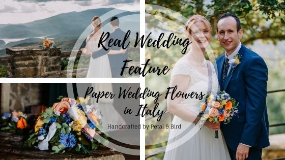 Real wedding featuring paper wedding flowers by Petal and Bird