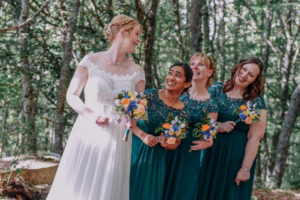 bride and bridesmaid's paper bouquets
