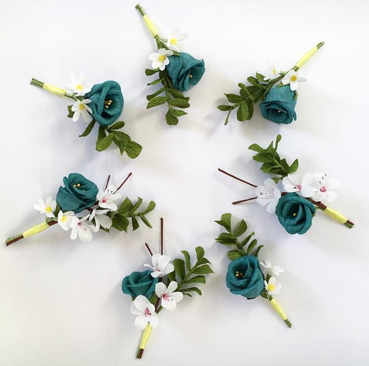 buttonholes petal and bird